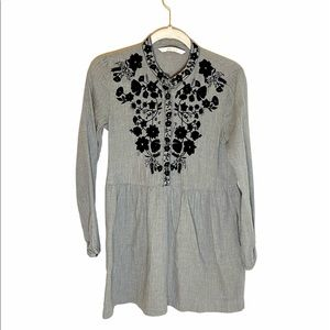 Zara Floral Embroidered Gray Babydoll Tunic